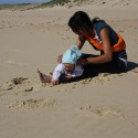 Matea's first day on the beach